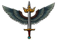 Épée d'illustration de vecteur avec les ailes et le roi illustration libre de droits