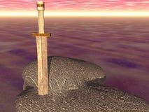 Épée dans la pierre Images libres de droits