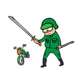 Épée de motocycle de soldat Image libre de droits