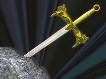 Épée de Thw dans la pierre illustration libre de droits