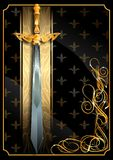 Épée du monde imaginaire sur un fond riche illustration stock