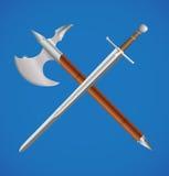 Épée et hache croisées illustration stock