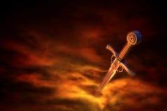 Épée médiévale dans la fumée Photos stock
