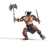 épée musculaire de combat barbare de hache illustration stock