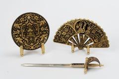 Épée, plaque et ventilateur espagnols Image stock