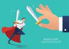 Épée se tenante agressive de conflit d'homme d'affaires combattant avec le collègue, patron de combat d'homme d'affaires à l'illu illustration stock