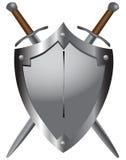 Épées médiévales avec l'écran protecteur Photographie stock libre de droits