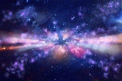 Épanouissement abstrait de lentille image de concept de backg de voyage de l'espace ou de temps Image libre de droits