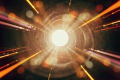 Épanouissement abstrait de lentille image de concept de fond de voyage de l'espace ou de temps au-dessus des couleurs foncées et  photographie stock
