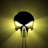 Épanouissement de lumière du soleil de symbole de crâne Image stock
