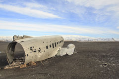 Épave d'un avion : atterrissage d'urgence en Islande Images libres de droits