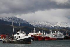 Épave dans le port d'Ushuaia Photo libre de droits