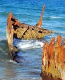 Épave de bateau des solides solubles peu solides près de Caloundra, Australie Photographie stock