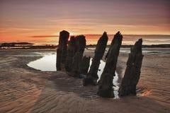 Épave de coucher du soleil Photographie stock libre de droits