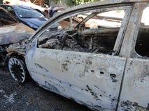 Épave de voiture de sport de brûlure image stock