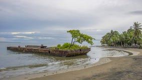 Épave rouillée sur la plage avec des usines et arbre s'élevant là-dessus image stock