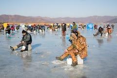 Éperlan de crochet de pêcheurs en hiver, Russie Photo libre de droits