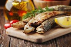 Éperlan russe traditionnel de poissons sur la table en bois Images libres de droits