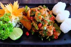Épicé saumoné cru avec le petit pain de riz la fusion de la terre et du Japonais thaïlandais Image stock