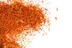 Épice d'un rouge ardent exotique, safran pour la nourriture de coloration Fond Photographie stock libre de droits