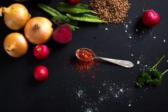 Épice de rouge de cuillère à café Photographie stock