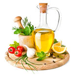 Épice et herbes avec l'huile d'olive Photos stock