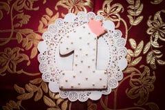 Épice-gâteau sous forme de numéro 1 Photographie stock libre de droits