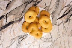 Épicerie assortie de plan rapproché de bagels douzaine Londres est images libres de droits
