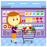 Épicerie de femme Image stock