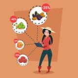 Épicerie en ligne de légume frais d'achat de Woman Hold Tablet d'agriculteur Photographie stock
