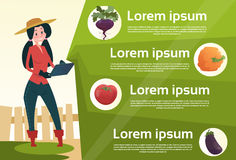 Épicerie en ligne de légume frais d'achat de Woman Hold Tablet d'agriculteur Photos libres de droits