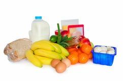 Épiceries ou paquet de base de nourriture Photo stock