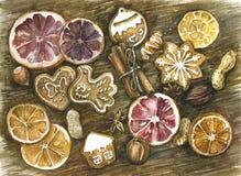 Épices cannelle, anis d'étoile, biscuits faits maison Images libres de droits