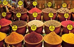 Épices colorées avec des étiquettes Images libres de droits