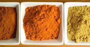 Épices colorées dans les paraboloïdes carrés Photos stock