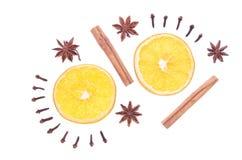 Épices d'hiver et composition orange d'isolement sur le blanc Photos libres de droits