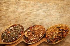 Épices dans des cuillères en bois photos libres de droits