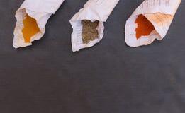 Épices dans les cônes de papier Images stock