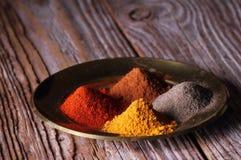 Épices de poudre d'un plat Photo stock