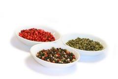 Épices - différents genres de poivre Image stock