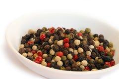 Épices - différents genres de poivre Photographie stock