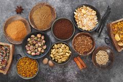 Épices et écrous secs par Indien dans des cuvettes Photographie stock libre de droits