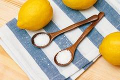 Épices et assaisonnements Acide citrique dans des cuillères en bois photographie stock
