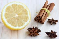 Épices et citron pour le vin chauffé Images stock