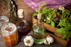 Épices et herbes dans la vieille cuisine image stock
