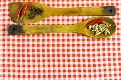 Épices et herbes indiennes sur le fond bleu avec l'espace de vue supérieure et de copie pour des nourritures de conception Photos libres de droits