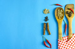 Épices et herbes indiennes sur le fond bleu avec l'espace de vue supérieure et de copie pour des nourritures de conception Photos stock