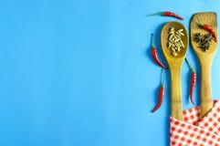 Épices et herbes indiennes sur le fond bleu avec l'espace de vue supérieure et de copie pour des nourritures de conception Photographie stock