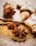 Épices et ingrédients de traitement au four Photos stock