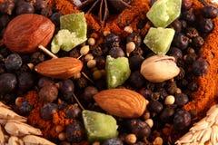 Épices et noix Photo stock